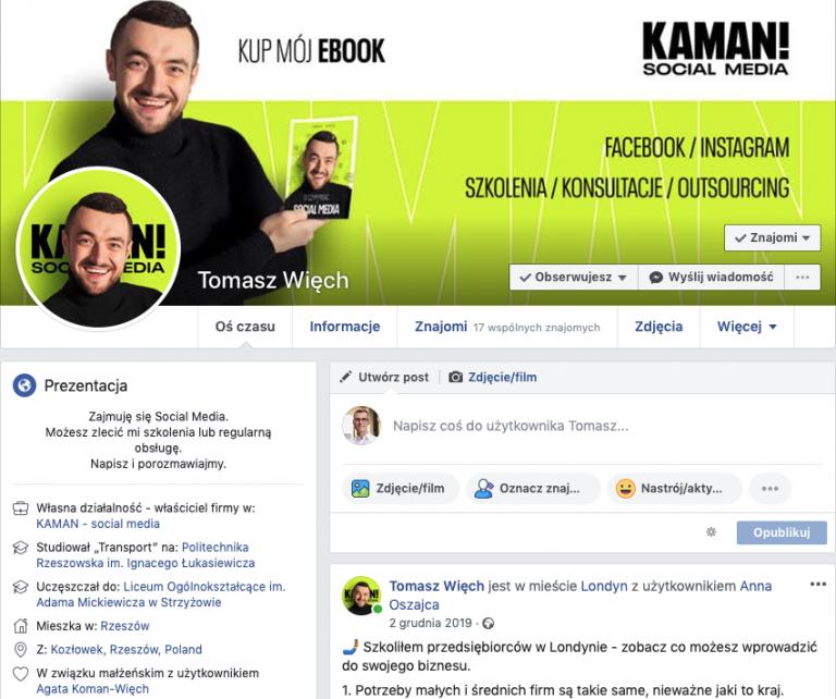 Jak pozyskać klientów na Facebooku- odpowiednio skonfigurowany profil.